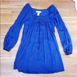Blue Silk Swing Dress